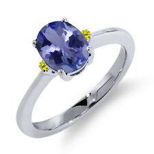 1.19 Ct Oval Blue Tanzanite Canary Diamond 14K White Gold Ring