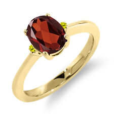 1.43 Ct Oval Red Garnet Canary Diamond 14K Yellow Gold Ring