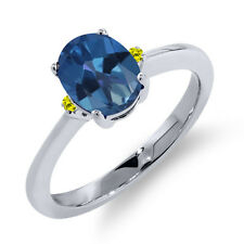 1.63 Ct Oval Royal Blue Mystic Topaz Canary Diamond 14K White Gold Ring
