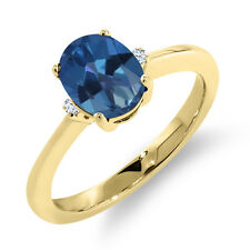1.62 Ct Oval Royal Blue Mystic Topaz White Sapphire 18K Yellow Gold Ring