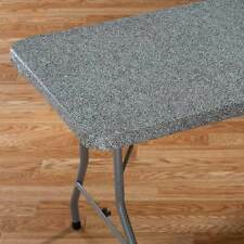 Pebble Granite Elasticized Banquet Table Cover - Vinyl Table Cloth Elastic Edges