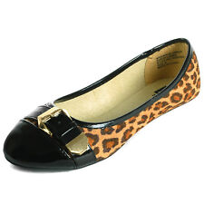 Womens Cheetah Ballet Flat Micro Suede Shoe Faux Patent Leather Round Toe Buckle