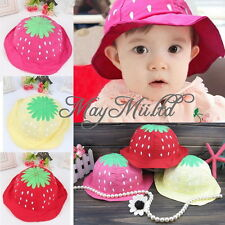 Summer Kid Baby Toddler Girl Strawberry Sweet Candy Dot Bucket Hat Sun Cap S