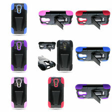 Hybrid Silicone + Hard Stand Protector Cover Phone Case For Kyocera Hydro Icon