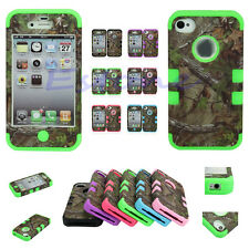 Triple Layer Hybrid Real 3 Camo Rubber Hard Case Cover For IPhone 4 4S 5 5S