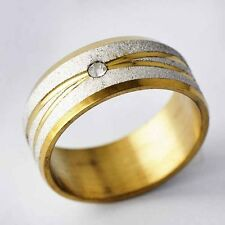 Clear CZ Gold Filled &stainless steel Sandy band Ring SZ 7-12 A2121- A2126