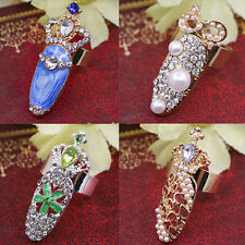 1pc Stylish Nail Tips Ring Personality Nice Rhinestone Crown Finger Tip Ring
