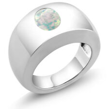 1.60 Ct Oval Cabochon White AAA Opal 925 Sterling Silver Men's Solitaire Ring