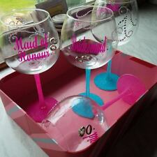 Bridesmaid/Maid of Honour wedding wine glass decals/stickers - personalised x2