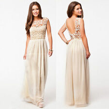Fashion Sexy Womens Boho Summer Beach Evening Party Long Maxi Lace Chiffon Dress