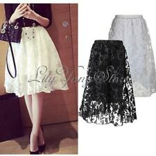Vintage Retro Women High Waist Elastic Flared Skater Pleated Lace Midi Skirt New