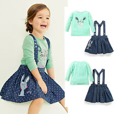 NEW 2PC Set Girls Kids Princess Rabbit Tops+Stars Overalls Dress Skirts Outfits