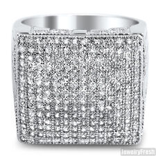White Gold Finish Fully Iced Out Micropave Mens Cubic Zirconia Ring