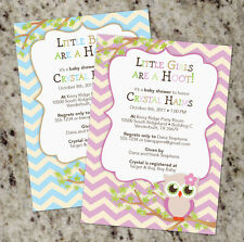 Cute Owl Themed Baby Shower Invitations with Chevron - Boy or Girl