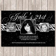 Birthday Invitations for 18th 21st 30th 40th Personalised with Photo x 10