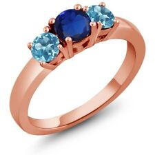 1.21 Ct Simulated Sapphire Swiss Blue Topaz 925 Rose Gold Plated Silver Ring