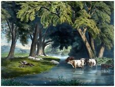 5971Men resting by river.sheep and cows drinking water.POSTER.Home Office art