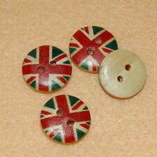 10 Sewing Round Buttons Craft 15mm Uk Flag Wood British Cute Diy Scrapbooking