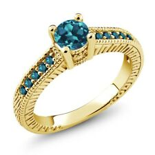 0.72 Ct Round London Blue Topaz Blue Diamond 14K Yellow Gold Engagement Ring
