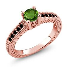 0.67 Ct Round Green Chrome Diopside Black Diamond 14K Rose Gold Engagement Ring