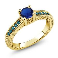 0.72 Ct Round Blue Simulated Sapphire Diamond 925 Yellow Gold Plated Silver Ring