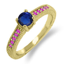 0.73 Ct Blue Simulated Sapphire Pink Sapphire 14K Yellow Gold Engagement Ring