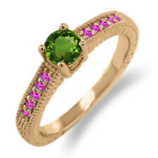 0.68 Ct Round Green Chrome Diopside Pink Sapphire 18K Rose Gold Engagement Ring