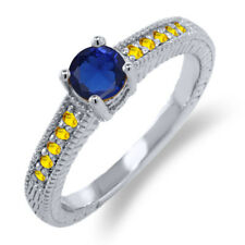 0.85 Ct Round Blue Simulated Sapphire Yellow Sapphire 925 Sterling Silver Ring