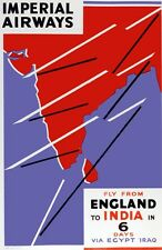 6391.Imperial Airways.Fly from England to India.POSTER.Home Office art