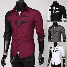 Luxury Stylish Mens Button-Down Slim Fit Long Sleeve Casual Dress Shirts Fashion