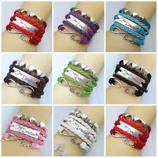 New Colorful Handmade Leather One Direction Heart Infinity Bracelet U Pick