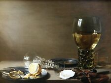6515.Still life picture of wine glasses and peeled lemon.POSTER.art wall decor
