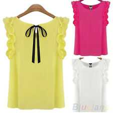 Women Sleeveless O-Neck Lotus Leaf Lacing Bow Chiffon T-Shirt Chic Top Blouse