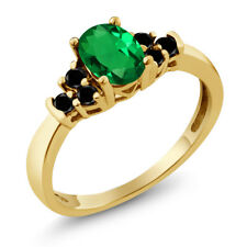 0.60 Ct Oval Simulated Emerald Black Diamond 925 Yellow Gold Plated Silver Ring