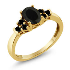 0.59 Ct Oval Black Onyx Black Diamond 925 Yellow Gold Plated Silver Ring