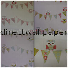 Teatime Owls - Bunting - Shabby Chic Owl - Wallpaper - 3 Colours to choose from