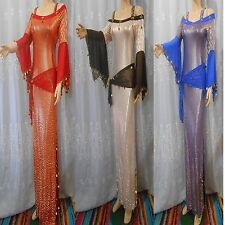 UNIQUE EGYPT2 PCS GALABEYA & HIP SCARF BALADI , BELLY DANCE ,ABAYA+ GIFT