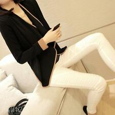 Lady Casual Long Sleeve Shoulder Pads Loose Brief Short Wrap Coat Jacket Apparel