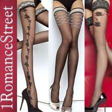 Lace Top Sensuous Thigh High Patterned Stockings Fiore 2 patterns size S M L