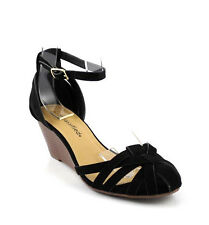Black Soo Cute Caged Closed Toe Low Mid Wedge Sandals Closed Back Ankle Strap
