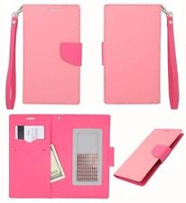Eagle Baby Pink Leather ID Flip Wallet Universal Pouch Cover Case For ZTE Phones