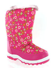 Girls Winter Warm Fur Lined Snow Ski Style Moon Fashion Zip Up Boots Size 8-2