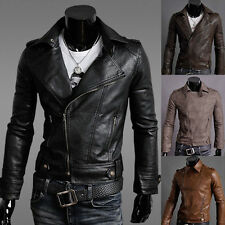 FASHION Men's Slim Fit Sexy PU Leather Zipper Short Biker Jacket Coat Outwear