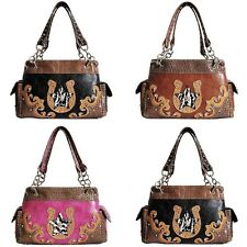 Western Cowgirl Cow Print Star Horse Shoe Satchel Purse