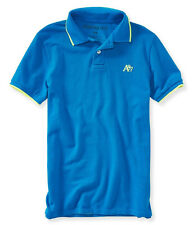 Aeropostale Mens Neon Accent Pique Rugby Polo Shirt