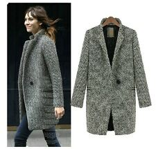 Womens Elegant Retro Slim A button western-style clothes Wool Blend Jacket Coat