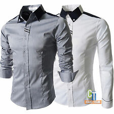 Men's Luxury Stylish Casual Dress Long Sleeve Slim Fit Shirts Tee Tops 4 Sizes