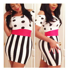 new 2014 Sexy summer women casual Polka and DOT Vertical Stripes Mini Dress