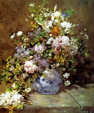 SPRING BOUQUET WILDFLOWERS IN A VASE FLOWER 1866 FRENCH PAINTING BY RENOIR REPRO