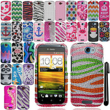 For HTC One S Ville DIAMOND BLING CRYSTAL HARD Protector Case Phone Cover + Pen